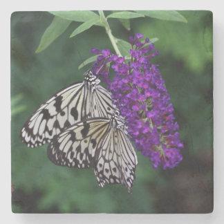 Pair of Paper Kite Butterflies Stone Coaster