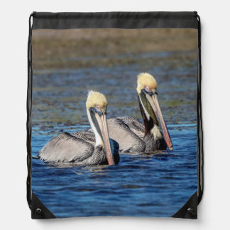 Pair of Pelicans Drawstring Bag