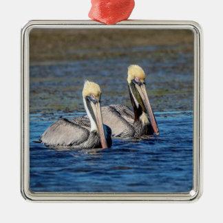 Pair of Pelicans Metal Ornament
