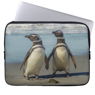 Pair of penguins on the beach computer sleeve