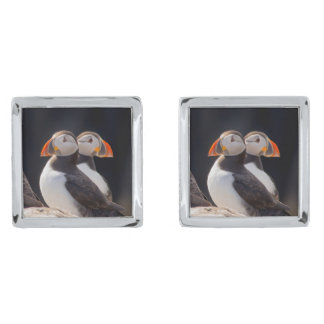 Pair of Puffins Silver Finish Cuff Links