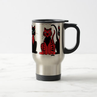 Pair of Red & Black Cats Travel Mug