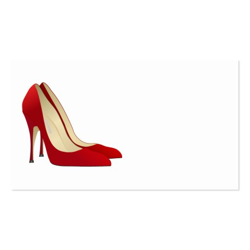 pair of red high heel pumps business card