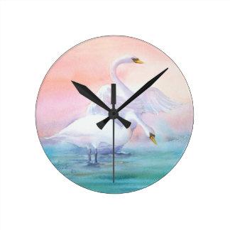 PAIR of SWAN by SHARON SHARPE Round Clock