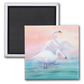 PAIR of SWAN by SHARON SHARPE Square Magnet