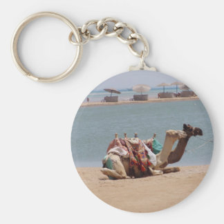 Pair Of Traditional Camels Sitting At The Beach. Key Ring