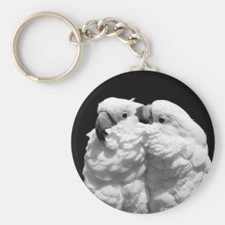 Pair of umbrella cockatoos key ring