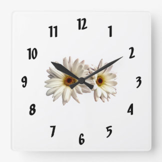 Pair of White Daisies Square Wall Clock