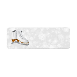pair of white ice skates address labels