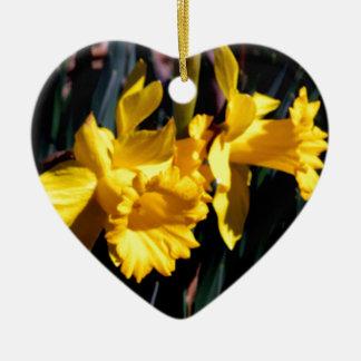 Pair of Yellow Daffodils Ceramic Ornament