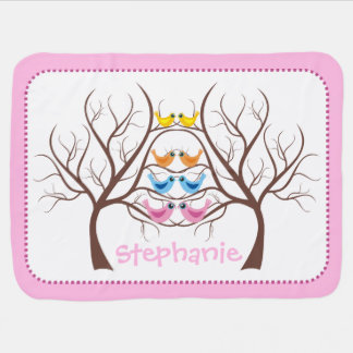 Pairs of cute twin birds in tree pink baby blanket