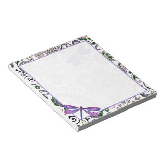 Paisley and dragonfly notepad