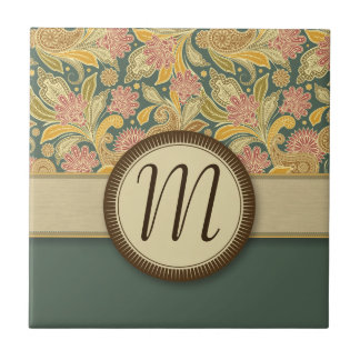 Paisley and Fan Flowers with Monogram Ceramic Tile