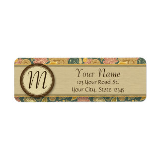 Paisley and Fan Flowers with Monogram Return Address Label