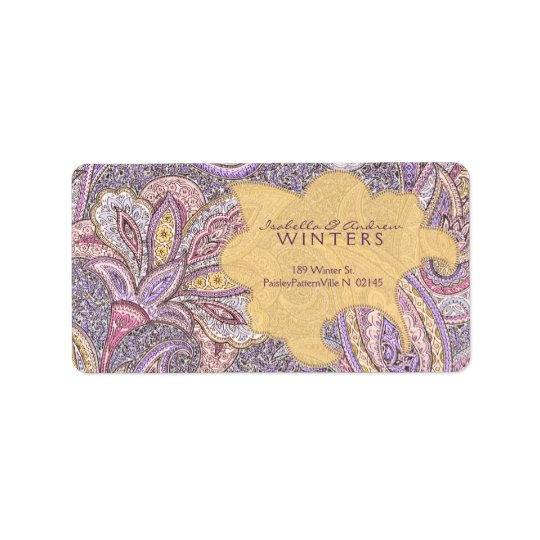 Paisley and flower pattern label
