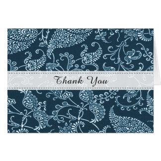 Paisley Aqua Blue White Monogram Initial Thank You Card