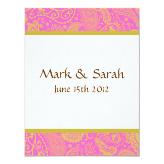 "Paisley Banded Pink RSVP 4.25"" X 5.5"" Invitation Card"
