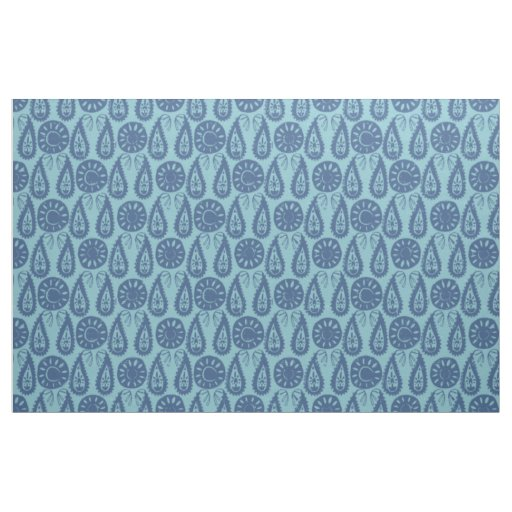 paisley block blue fabric
