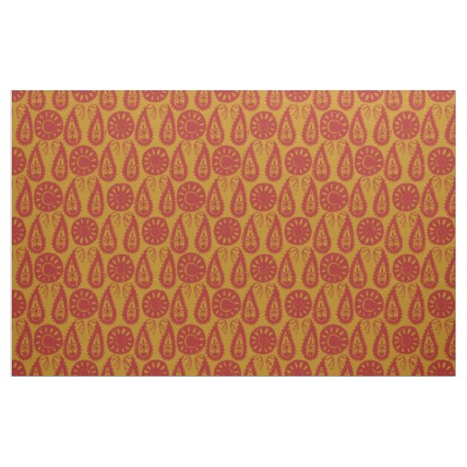 paisley block red gold fabric