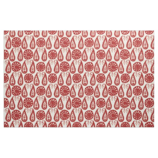 paisley block red ivory fabric