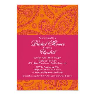 Paisley Bridal Shower Invitation Orange & Pink
