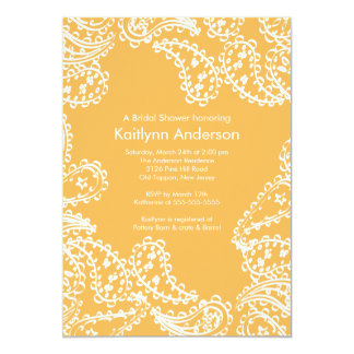 Paisley Bridal Shower Invitation White Beeswax
