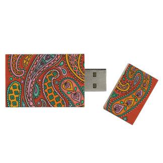 Paisley Candy USB Flash Drive Wood USB 2.0 Flash Drive