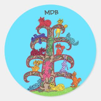 Paisley Cat Tree of Life Custom Monogram Classic Round Sticker
