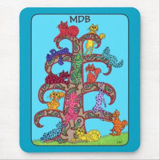 Paisley Cat Tree of Life Custom Monogram Mouse Pad