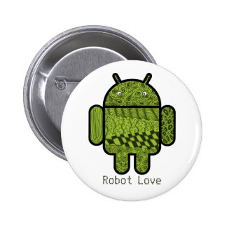 Paisley Character for the Android™ Robot 6 Cm Round Badge
