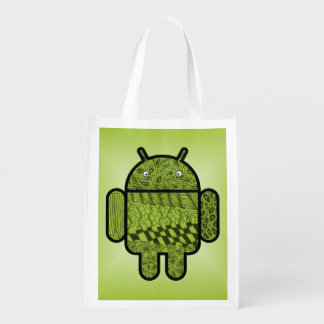 Paisley Character for the Android™ Robot Grocery Bag