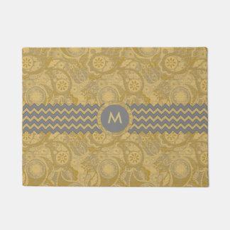 Paisley Chevron Monogram Gold PCMX Doormat