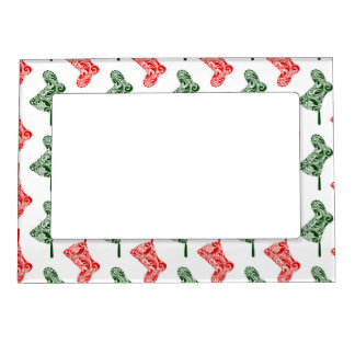 Paisley Christmas Stockings Magnetic Picture Frame