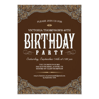 Paisley Dark Brown Birthday Party Invitations