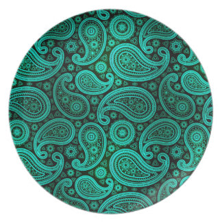 Paisley Deluxe   teal Plate