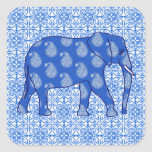 Paisley elephant - cobalt blue and white stickers