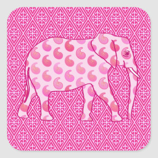 Paisley elephant - ice pink and fuchsia square sticker