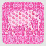 Paisley elephant - ice pink and fuchsia stickers