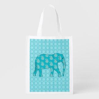 Paisley elephant - turquoise and aqua grocery bags