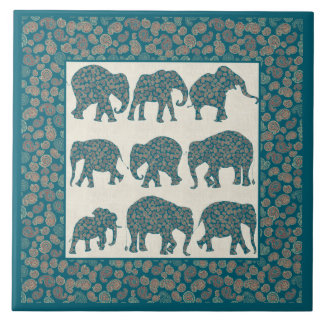 Paisley Elephants on Beige and Border Ceramic Tile