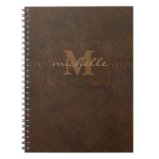 Paisley Embossed Leather Monogram Notebooks