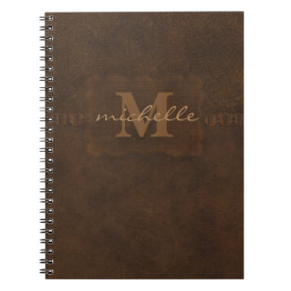Paisley Embossed Leather Monogram Spiral Note Books