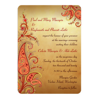 Paisley Floral Gold Red Orange Indian Wedding 13 Cm X 18 Cm Invitation Card