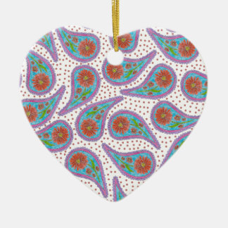 Paisley floral pattern ceramic ornament