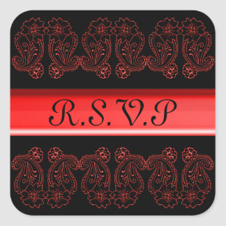 Paisley Flower (Red) Square Stickers