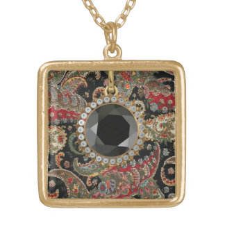 Paisley Fractal Gold Plated Necklace