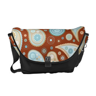 Paisley Funky Print (Dark Red Background) Messenger Bags