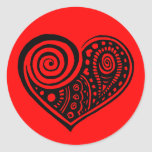 Paisley Heart /blk Classic Round Sticker