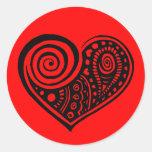Paisley Heart /blk Round Sticker