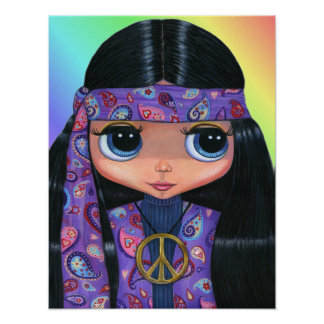 Paisley Hippie Doll Poster
